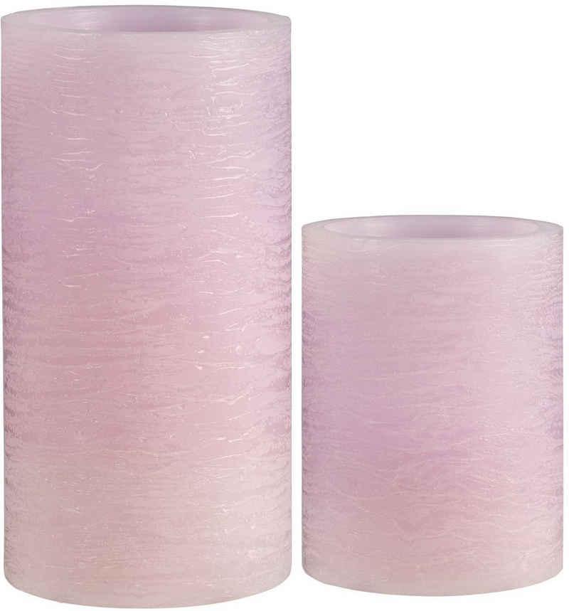 Pauleen LED-Kerze »Cosy Lilac« (Set, 2-tlg), Wachskerze Timer Flieder