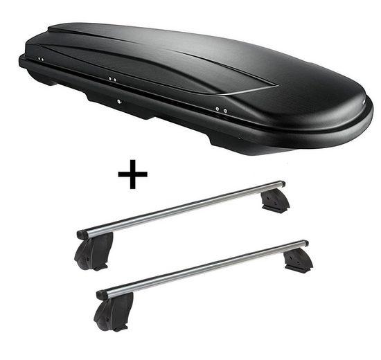 VDP Fahrradträger, Dachbox VDPJUXT500 500 Liter abschließbar schwarz + Dachträger K1 PRO Aluminium kompatibel mit Mercedes C Coupé (C205) (3Türer) ab 15