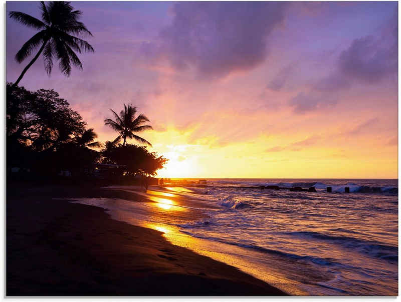 Artland Glasbild »Tropischer Strand«, Sonnenaufgang & -untergang (1 Stück)