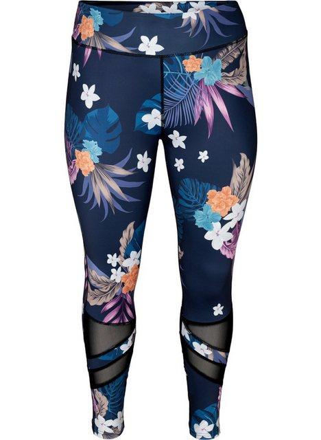 Hosen - Active by ZIZZI Trainingstights Große Größen Damen 7 8 Leggings mit Blumenprint und Mesh ›  - Onlineshop OTTO