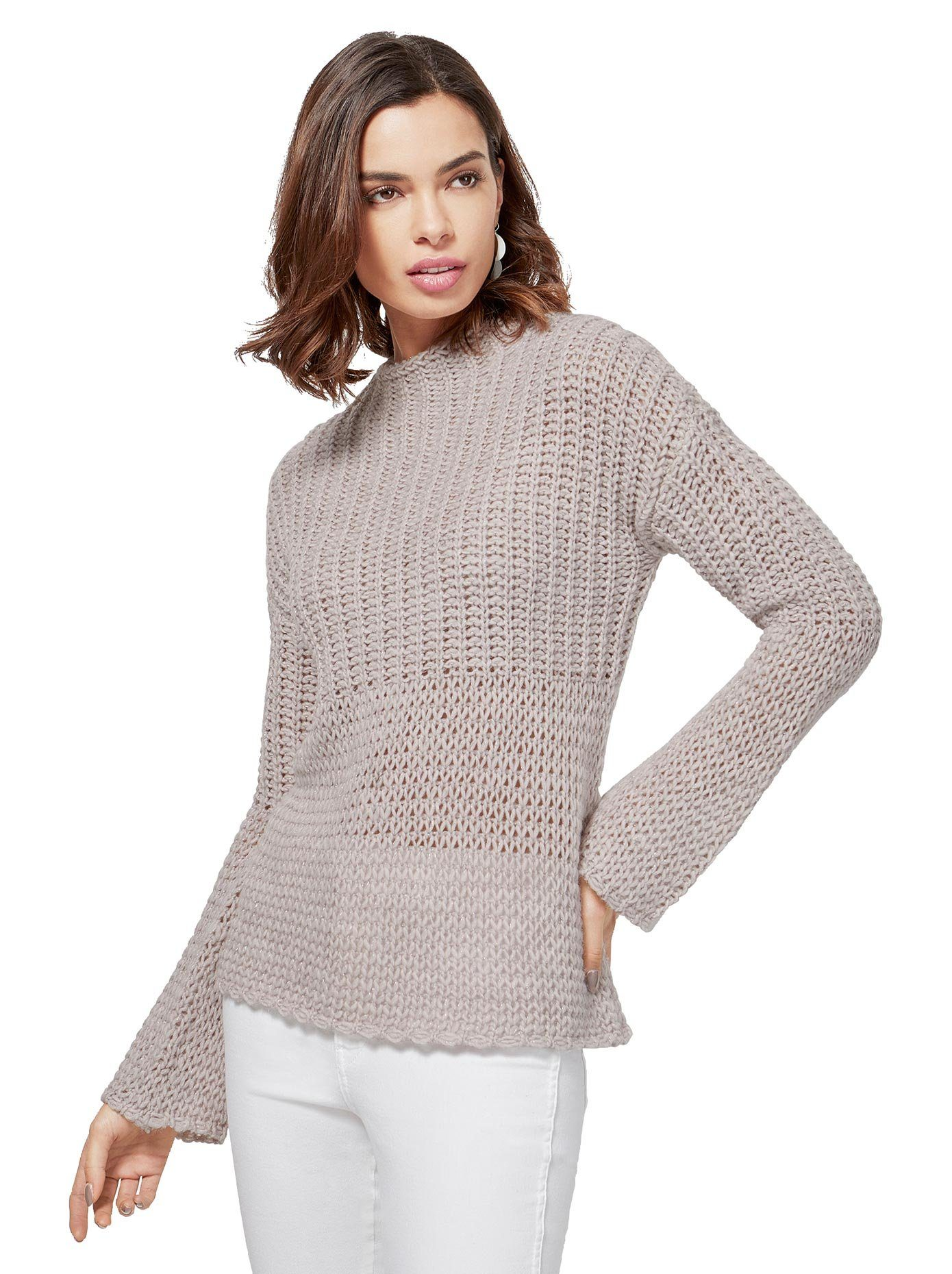 creation L création L Pullover mit grober Maschung, Pullover mit feinen Glanzfäden online kaufen   OTTO