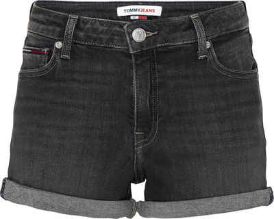 Tommy Jeans Shorts »Mid Rise Denim Short SAE171 BKS« zum krempeln mit Tommy Jeans Logo-Flag