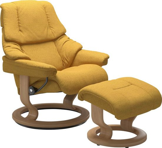 Stressless® Relaxsessel »Reno« (Set, 2-St., Relaxsessel mit Hocker), mit Hocker, mit Classic Base, Größe S, M & L, Gestell Eiche