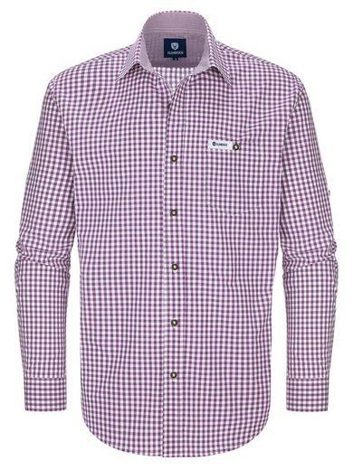 Almbock Trachtenhemd »Herren Trachtenhemd Basti« lila-weiß-kariert