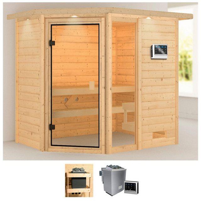 Saunen und Zubehör - KARIBU Sauna »Josie«, 224x160x191 cm, 9 kW Bio Ofen mit ext. Steuerung, Dachkranz  - Onlineshop OTTO