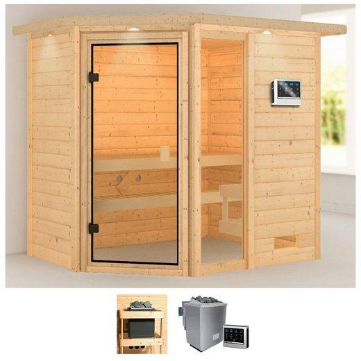 KARIBU Sauna »Josie«, 224x160x191 cm, 9 kW Bio-Ofen mit ext. Steuerung, Dachkranz