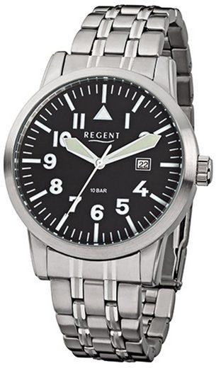 Regent Quarzuhr »URF778 Regent Herren-Armbanduhr silber Analog«, (Analoguhr), Herren Armbanduhr rund, groß (ca. 42mm), Metall, Elegant