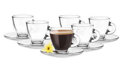 Sendez Espressotasse »6 Espresso Gläser 85ml mit 6 Unterteller Espressotassen Tasse 12tlg Espressoglas«