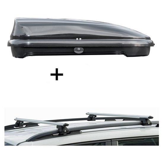 VDP Fahrradträger, Dachbox VDPFL320 320Ltr schwarz glänzend + Dachträger CRV135 kompatibel mit Jeep Patriot (5 Türer) 2007-2012