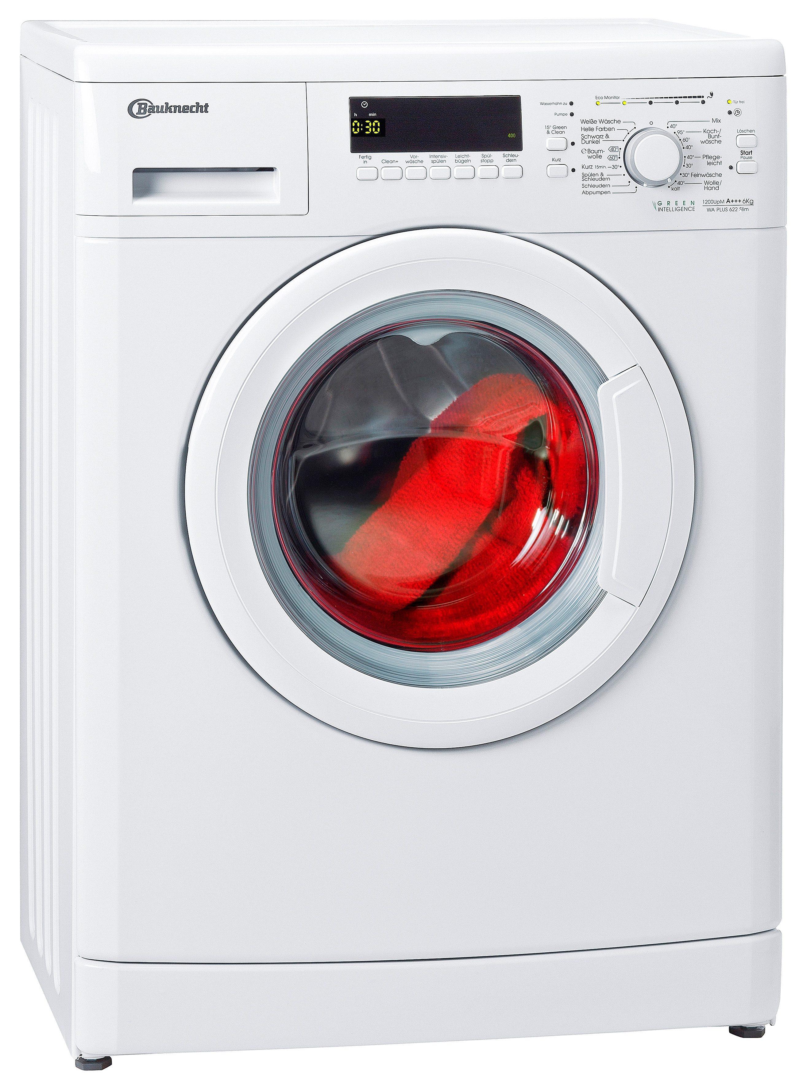 BAUKNECHT Waschmaschine WA PLUS 622 Slim, A+++, 6 kg, 1200 U/Min