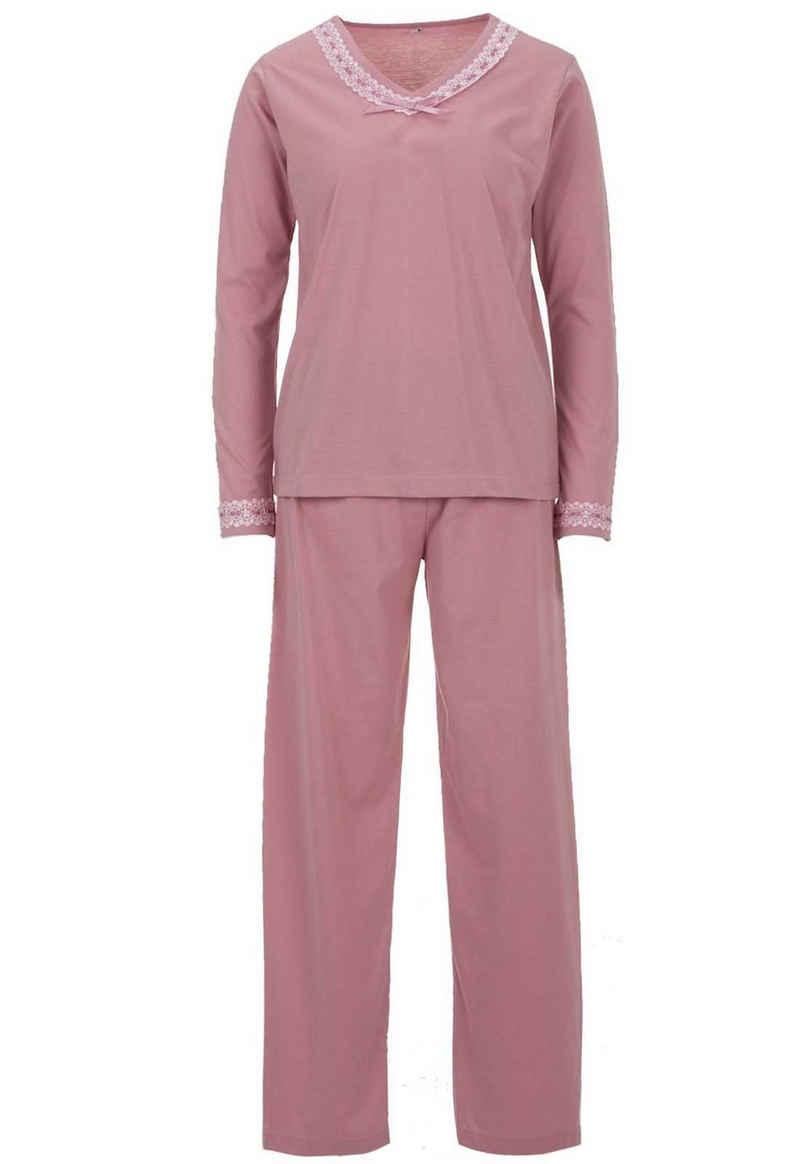 zeitlos Schlafanzug »zeitlos Damen Schlafanzug Set Pyjama V-Kragen Spitze Schleife Hose Uni 2 tlg.«