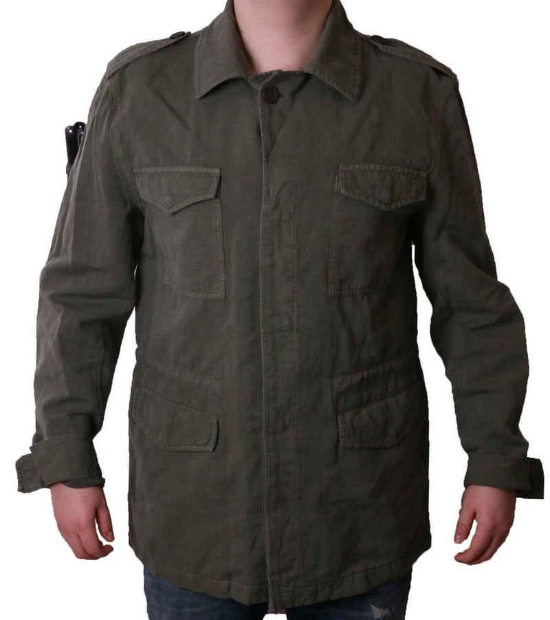 Mexx Outdoorjacke »MEXX Field-Jacket zeitlose Leinen-Jacke für Herren Freizeit-Jacke in Khaki«