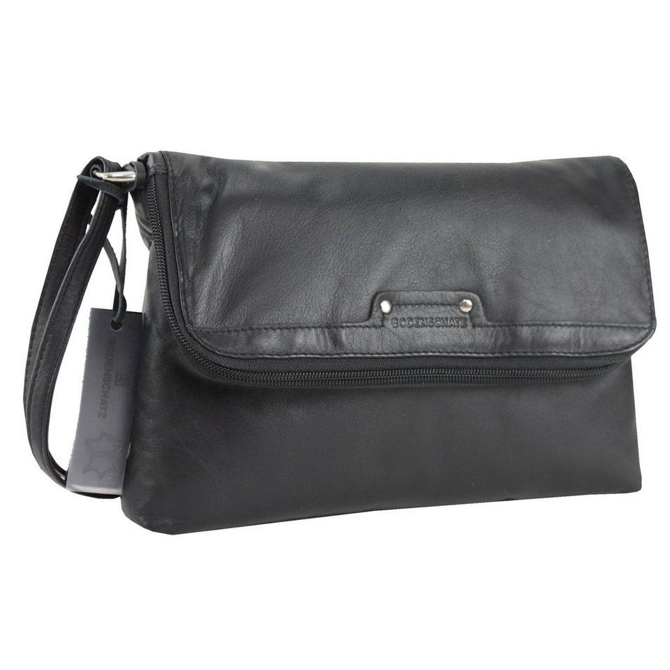 Bodenschatz Padua Überschlagtasche Leder 25 cm in schwarz