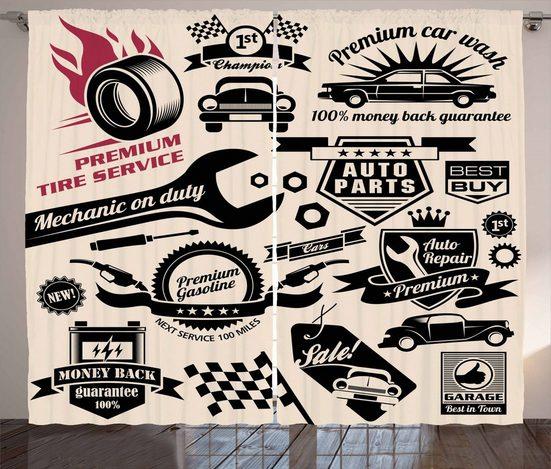 Gardine »Schlafzimmer Kräuselband Vorhang mit Schlaufen und Haken«, Abakuhaus, Retro Auto-Reparaturwerkstatt Logos