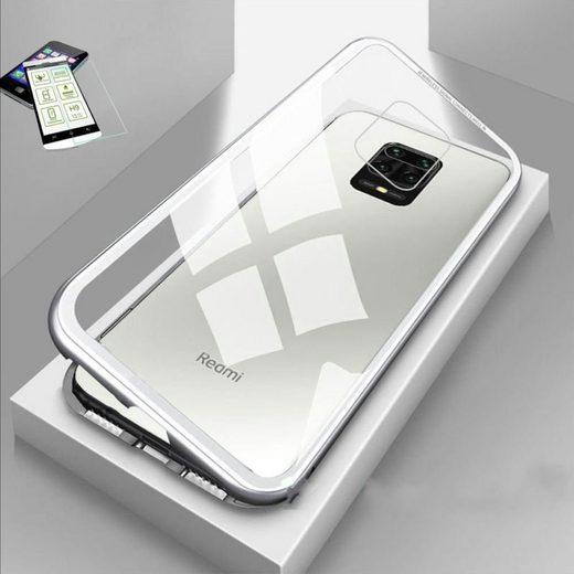 Wigento Handyhülle »Für Xiaomi Redmi Note 9S / 9 Pro Magnet / Metall / Glas Tasche Case Silber / Transparent + 0,26 mm H9 Hart Glas«