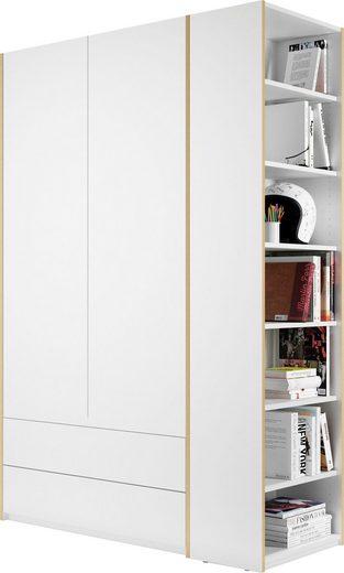 Müller SMALL LIVING Kleiderschrank »Modular Plus Variante 1« inklusive 2 geräumigen Schubladen, Anbauregal wahlweise links oder rechts montierbar