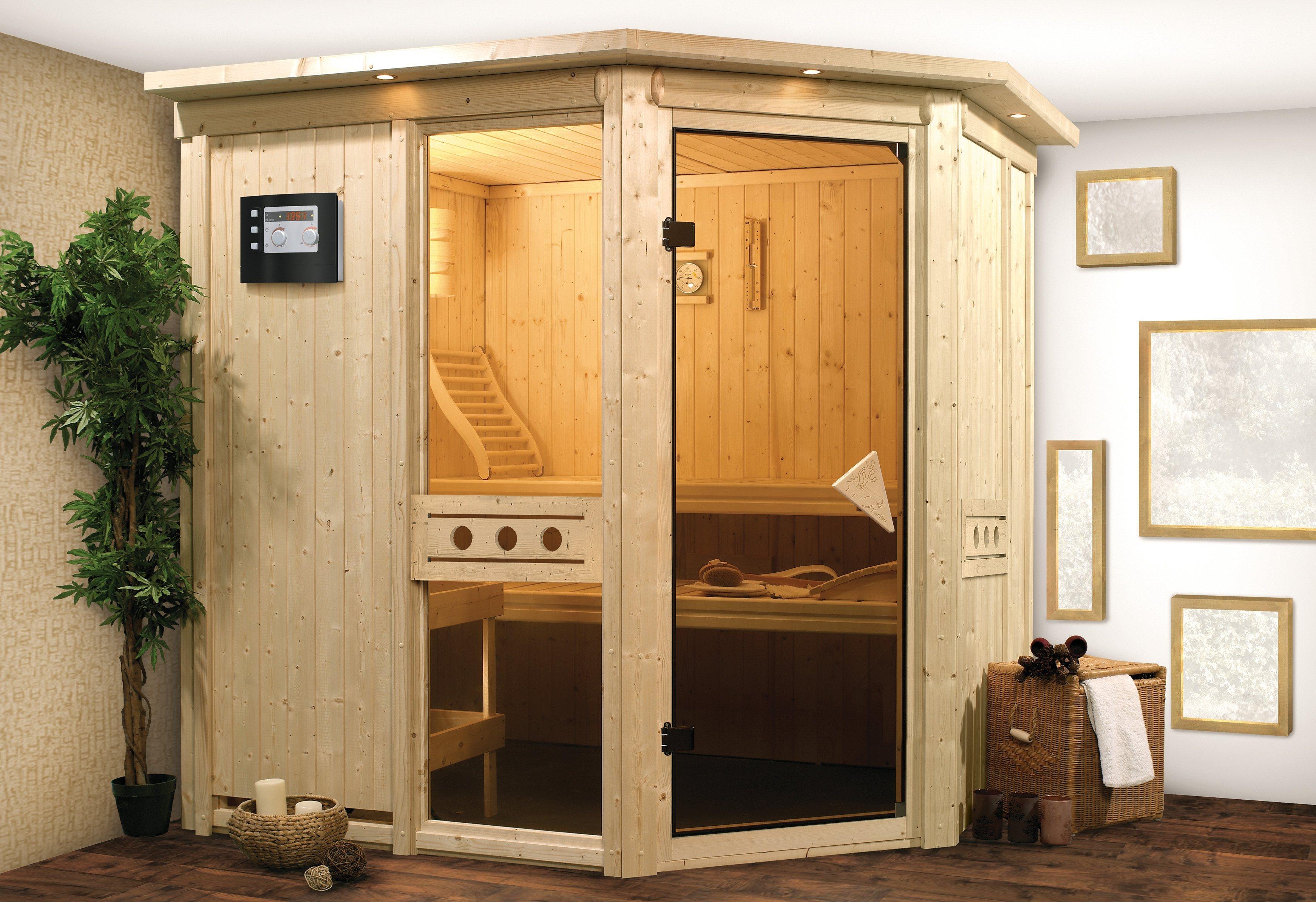 Sauna »Sofia 1«, 196/151/198 cm, 9-kW-Bio-Kombiofen + Dachkranz