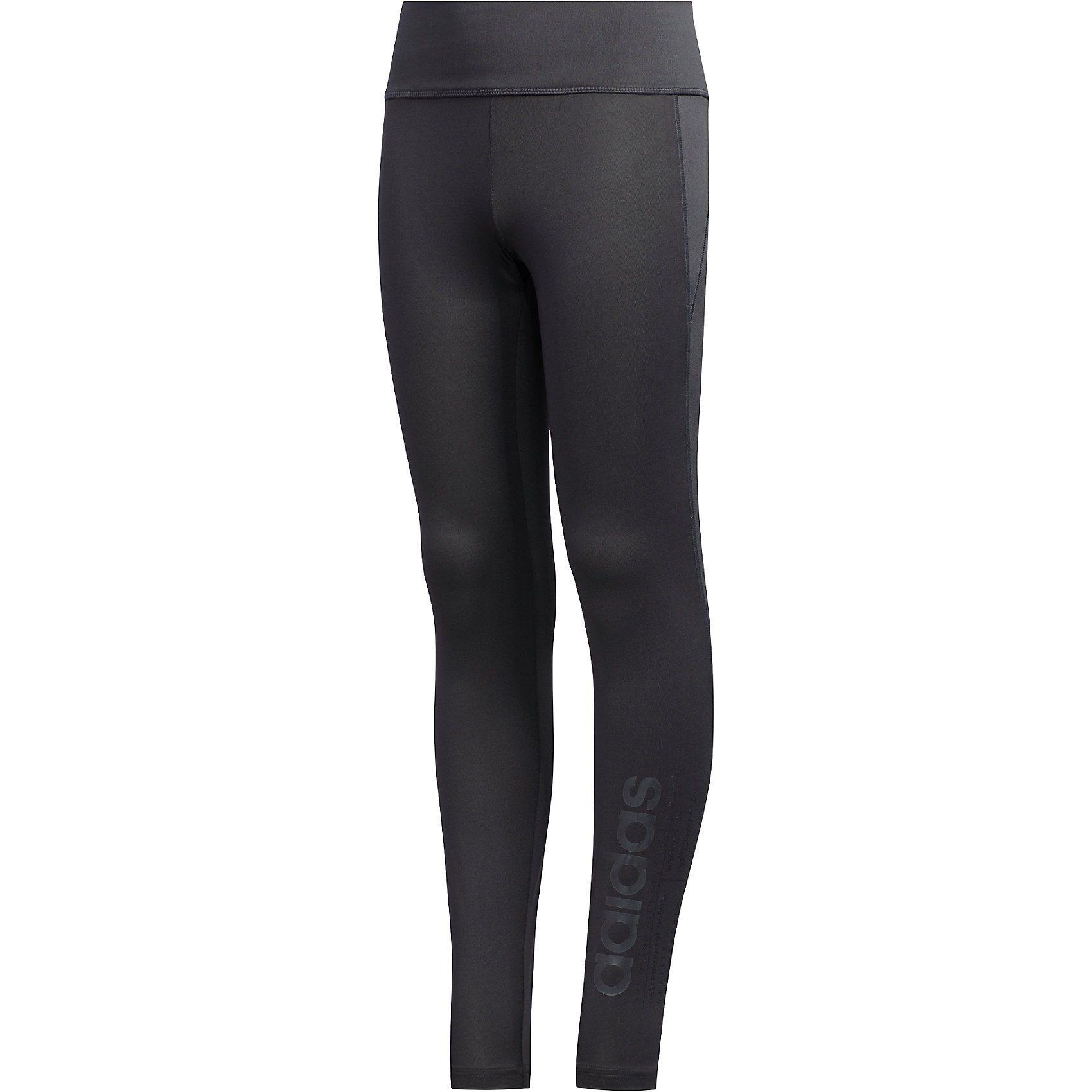 adidas Mädchen Sport Fitness Hose Kinder Essentials Linear Tight grau schwarz