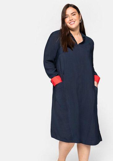 Sheego Jerseykleid mit Hemdkragen und Kontrastdetails