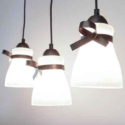 Licht-Erlebnisse Kronleuchter »REBEL«, Weiße Hängelampe Rostbraun Glas Metall Küche Esszimmer Pendelleuchte Lampe