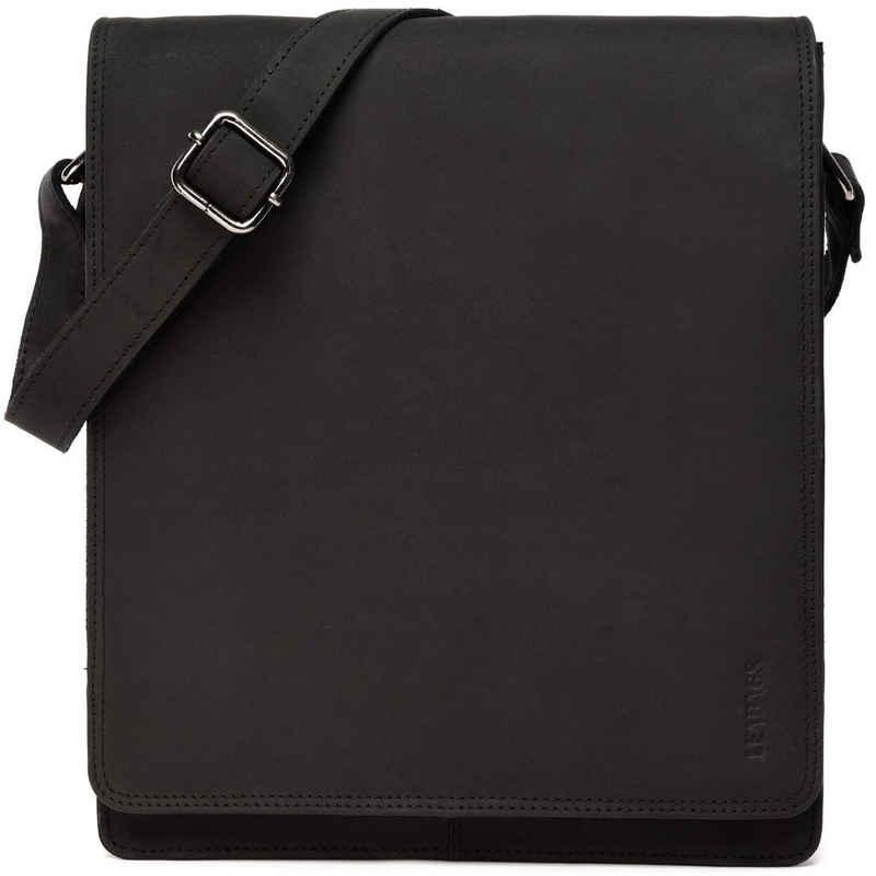 LEABAGS Umhängetasche »London«, Umhängetasche Schultertasche 13 Zoll Laptops aus Leder im Vintage Look, Large, Schwarz