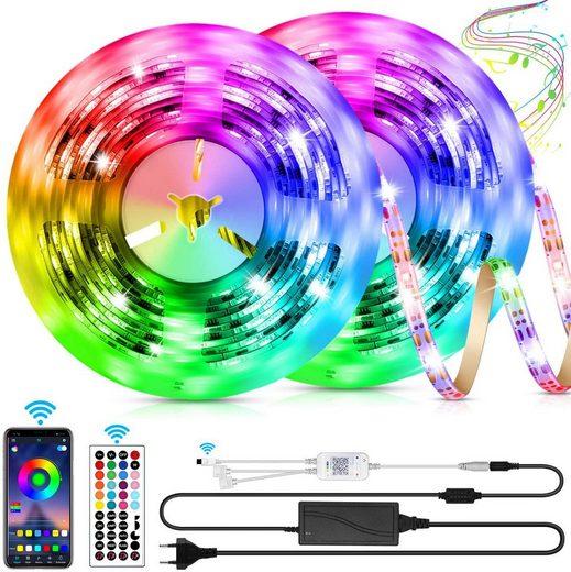Oneid LED Lichtleiste »LED Strip, Bluetooth RGB LED Streifen, Farbwechsel LED Lichterkette 10M mit Steuerbar via App, 16 Mio. Farben, Fernbedienung, Sync mit Musik, LED Band für Schlafzimmer TV Zuhause Schrankdek«