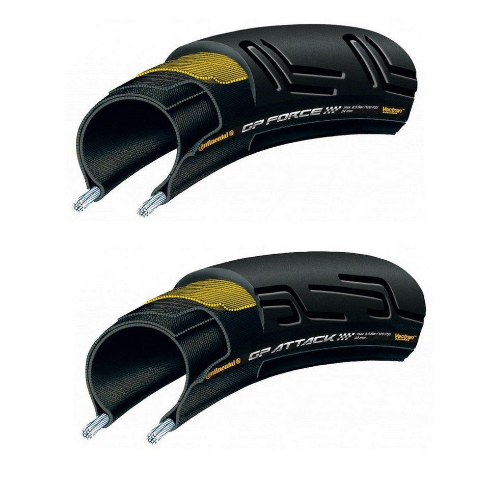 "Continental Fahrradreifen »Grand Prix Attack & Force 28"" Set faltbar«"