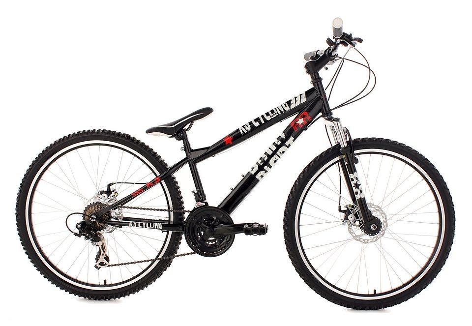 MTB Dirtbike, KS Cycling, »DIRRT«, Hardtail, 26 Zoll, 21 Gang Shimano Tourney, mech. Scheibenbremsen in schwarz