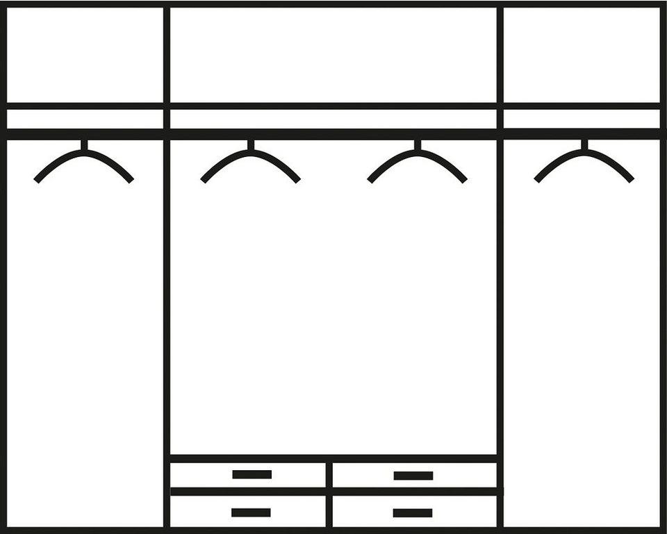 rauch Kleiderschrank in struktureichefarben dunkel/weiß