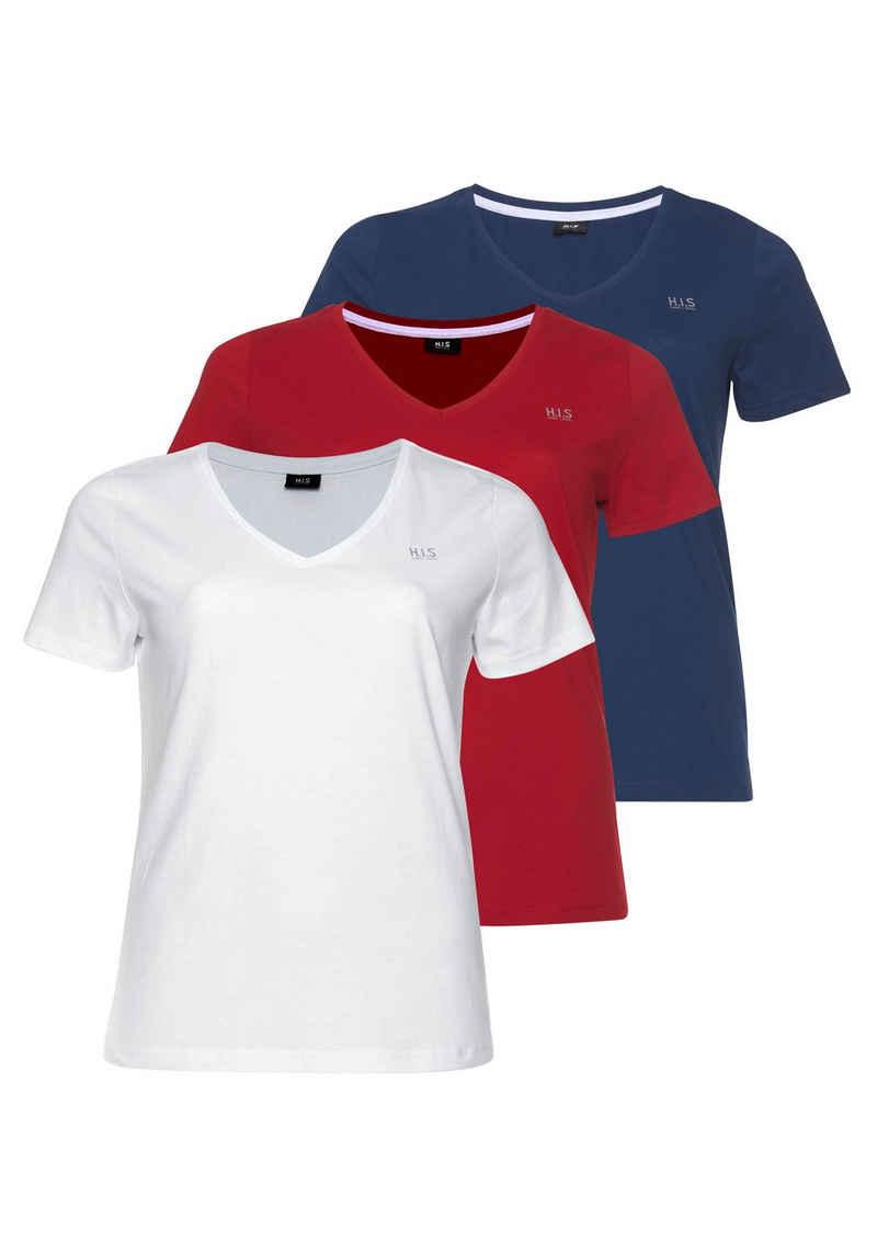 H.I.S T-Shirt »Essential-Basics« (Spar-Set, 3er-Pack) Große Größen