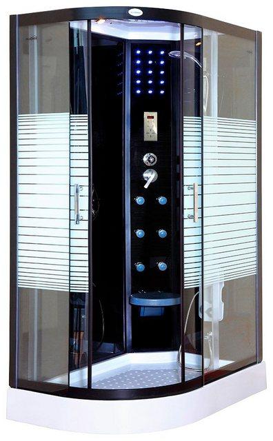 Duschen und Zubehör - HOME DELUXE Komplettdusche »Black Pearl L«, BxT 120x80 cm, Sicherheitsglas, 1 tlg., mit Tropenbrause, Beleuchtung und Radio  - Onlineshop OTTO