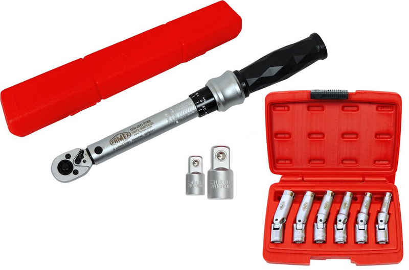 FAMEX Drehmomentschlüssel »14875 Drehmomentschlüssel Set 1/4 Zoll (6,3mm) 6-30 Nm Glühkerzen Wechsel Gelenkschlüssel Satz« (Drehmomentschlüssel, 9 St), TOP-Qualität