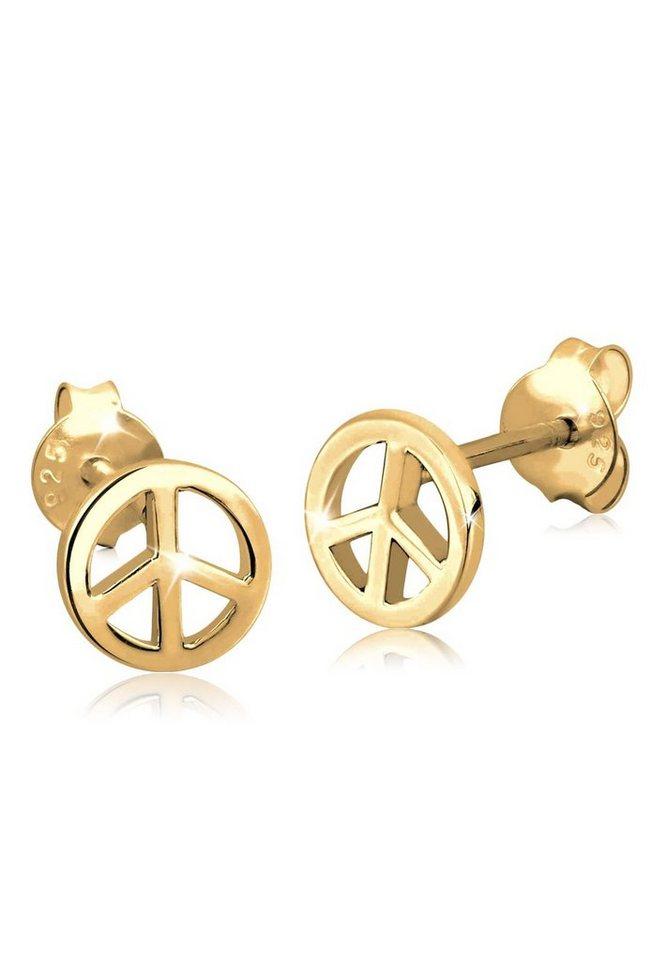 GOLDHIMMEL Ohrringe »Ohrstecker Peace-Zeichen vergoldet« in Gold
