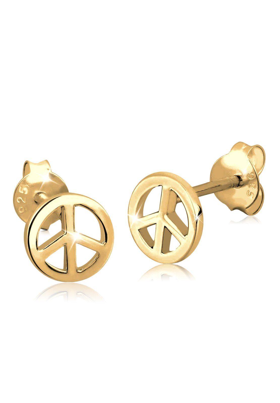 Elli Ohrringe »Peace Frieden Festival Boho Hippie vergoldet«