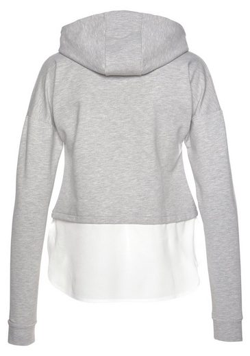 Tamaris Kapuzensweatshirt mit Bluseneinsatz