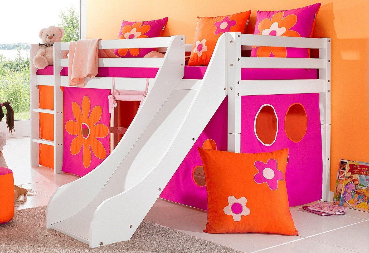 Hoppekids Halbhohes Bett inkl. Rutsche mit Absturzschutzseiten »Flowerpower«