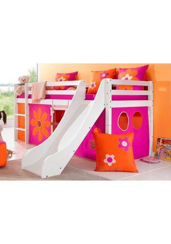 Hoppekids Halbhohes Bett inkl. Rutsche mit Absturzschutzseiten Flowerpower bunt,mehrfarbig  