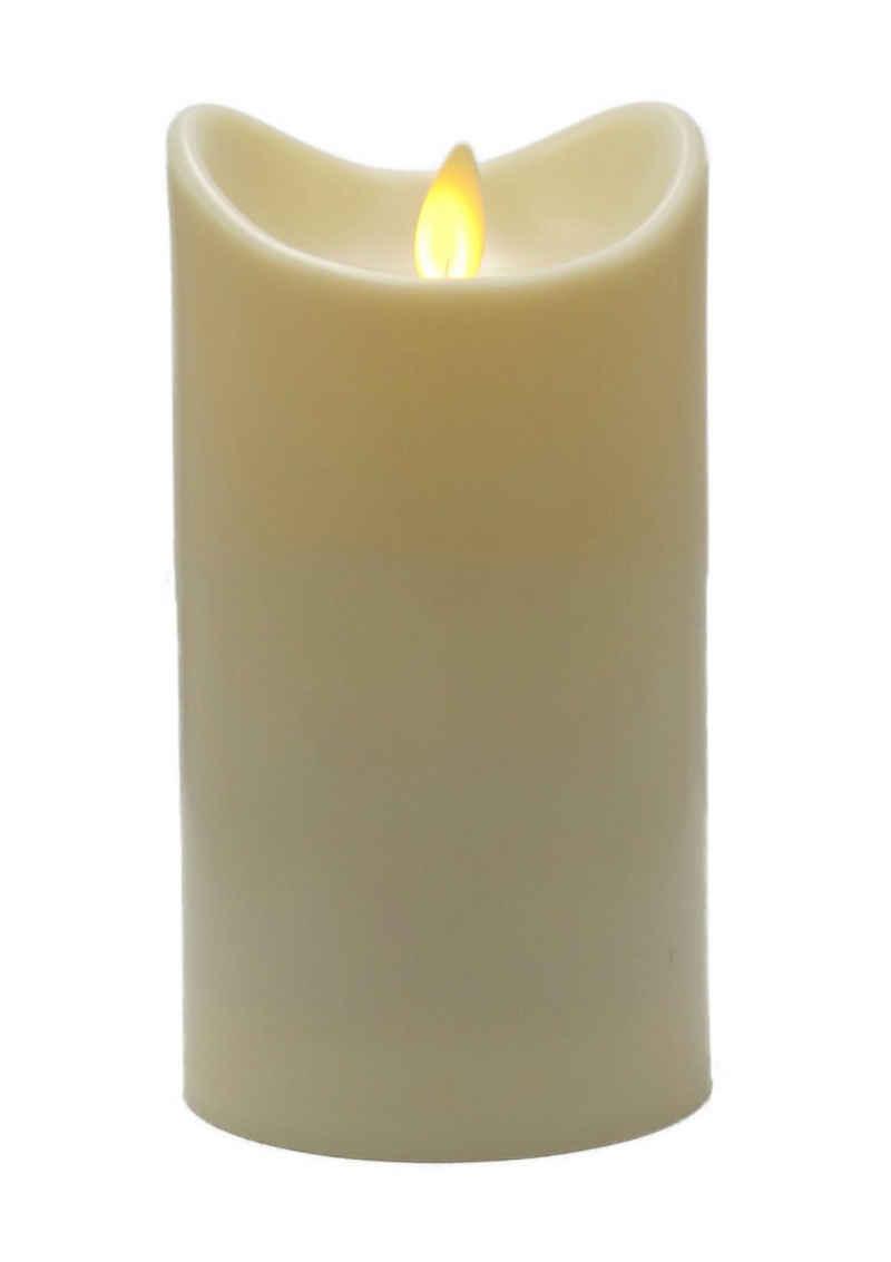 BONETTI LED-Kerze »LED Stumpenkerze mit beweglicher Flamme«, rotierender Docht, Timer, batteriebetrieben, warm-weißes LED-Kerzenlicht