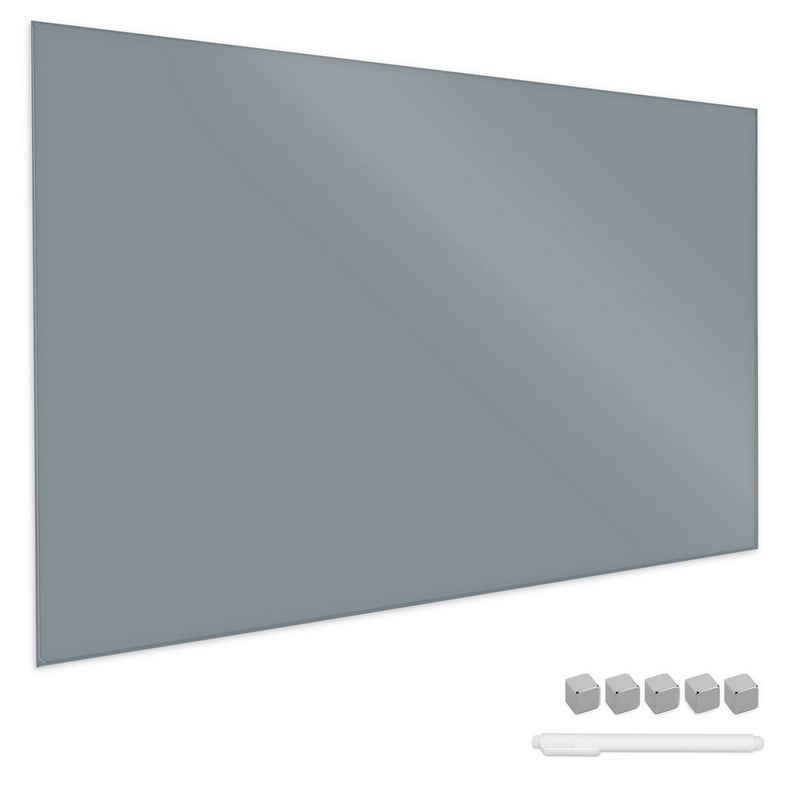 Navaris Memoboard, Magnetboard aus Glas - 90x60 cm Tafel magnetisch zum Beschriften - Magnetwand inkl. Magnete Stift Halterung