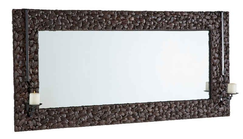Home affaire Spiegel »Schönerempfang«, mit Kerzenhalter, aus geflochtenem Wasserhyazinthengeflecht, Breite 150 cm