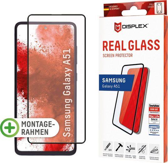 Displex »DISPLEX Real Glass Panzerglas für Samsung Galaxy A51 (6,5), 10H Tempered Glass, mit Montagerahmen, Full Cover« für Samsung Galaxy A51, Displayschutzglas, Beste Touch- & Scroll-Eigenschaften (3D- und Multi-Touch), Optimale Transparenz in Ultra HD Qualität, Absolut sicher dank Splitterschutz durch Verbundmaterial