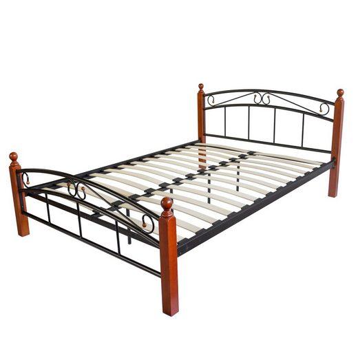 Homestyle4u Metallbett, schwarzes Doppelbett & Rollrost, verschiedene Größen