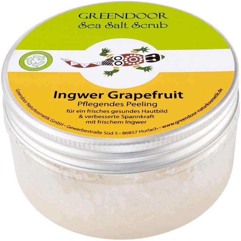 GREENDOOR Körperpeeling »Sea Salt Scrub Ingwer Grapefruit, veganes Körperpeeling ohne Mikroplastik, 280g«, Rein natürliches Körperpeeling für extra zarte Haut