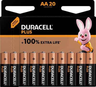Duracell »Plus Alkaline, Mignon, AA, LR6 (20 Stück)« Batterie, (1,5 V)
