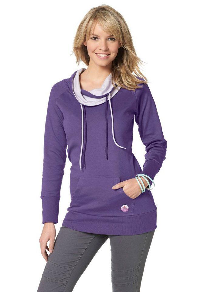 Flashlights Sweatshirt mit kontrastfarbigem Kragen in lila