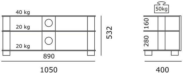 TV Möbel - JUST by Spectral TV Rack »just racks TV1053«, Breite 105 cm  - Onlineshop OTTO