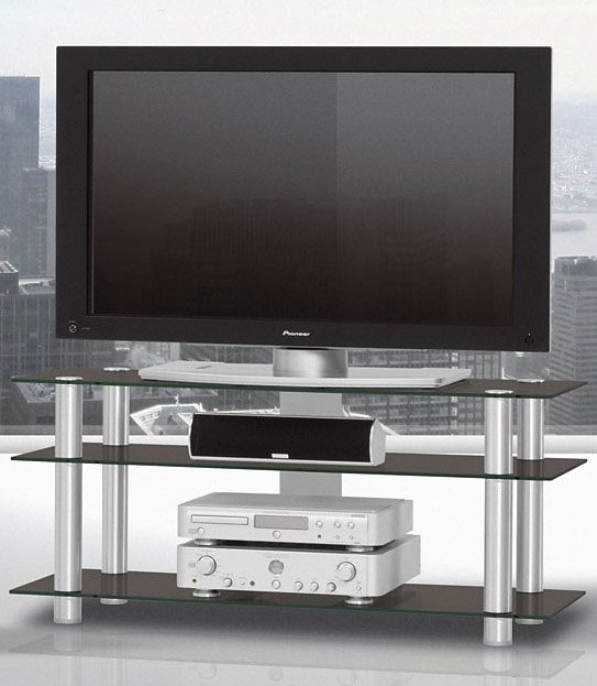 TV-Rack, Just Racks, Breite 120 cm in Schwarzglas