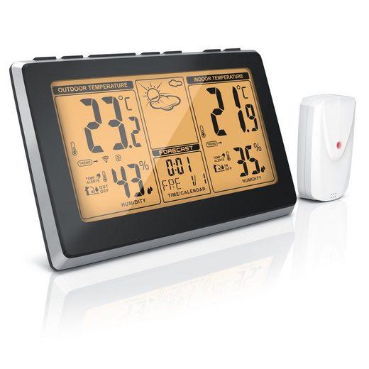 BEARWARE Wetterstation (mit Außensensor, Wireless Funkwetterstation mit Außensensor DCF-Signal)