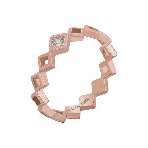 CAÏ Silberring »925 Silber rosévergoldet Rauten mit Zirkonia«, Cut Out Rauten Design