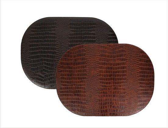Platzset, »Tischsets 6-er Set oval Leder Imitat Kroko Look beschichtet«, Signature Home Collection, (Set, Tischset 6-er Set Kunstleder 45 x 33 cm), beidseitig verwendbar mit 2 unterschiedlichen Farben